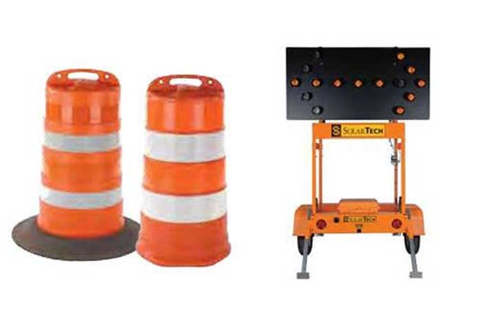 Site Safe Work Zone Rentals: Temporary Traffic Control Devices - Channelizing Drums and Arrow Board